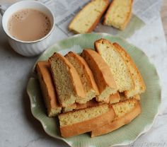 Ingredients (Makes Cake Rusk Recipe Butter – cup stick), room temperature Granulated sugar – cup + 2 tbsp Vanilla extract – 1 tsp Eggs – 3 All purpose flour – Bake Sale Recipes, My Recipes, Baking Recipes, Cookie Recipes, Baking Ideas, Recipies, Cake Rusk Recipe, Tea Biscuits, Eggless Baking