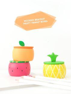 Fruity Wooden Bracelet Trinket Boxes