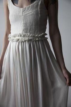 Salomé Linen and Silk Dress - White | Ovate