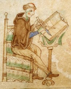 A scribe writing the Gospels of Kildare.  ©The British Library Board. F60084-90