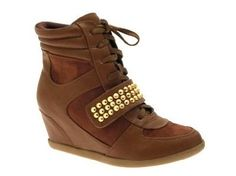 WOMENS HIDDEN WEDGE HI TOP SPORTS TRAINERS SNEAKERS ANKLE BOOTS STUDDED STRAP LADIES GIRLS LACE UP SHOES 3 - 8,£19.99