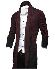 Tom's Ware Mens Classic Slim Fit Marled Zigzag Shawl Collar Cardigan