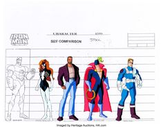 Iron Man Character Size Comparison/Color Model Cel Group of 5 (Marvel Films, Group of four Color Model - Available at Sunday Internet Comics Auction.