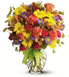 Yellow daisy spray chrysanthemums, purple Matsumoto asters, hot pink miniature carnations, orange carnations and alstroemeria - accented with bupleurum - are delivered in a miniature ginger vase adorned with a plaid yellow ribbon. Unique Flower Arrangements, Unique Flowers, Cut Flowers, Fresh Flowers, Get Well Gifts, Floral Artwork, Floral Photography, Flower Delivery, Floral Bouquets