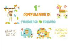 Biglietto 1° Compleanno: invito personalizzato con tanti colorati animali della giungla