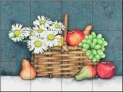 Fruit /Vege decorative tile-Fruit and Daisy Basket-Tile Mural Tile Murals, Wall Tiles, Kitchen Splashback Tiles, Splashback Ideas, Decorative Tile Backsplash, Tumbled Marble Tile, Fruit Picture, Fruits Images, Tile Projects