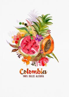 Fruits of Colombia | Frutas Colombianas by Atypicus - inspired by the delicious fruits from the Caribbean of Colombia. Colombia 100% Dulce Alegria por Juliana Alonso. Inspirado en las deliciosas frutas que venden las palenqueras del caribe Colombiano. #colombia #palenqueras #cartagena #caribe #colombiatravel #colombianfood #foodie #frutascolombianas #colombianart #artecolombiano