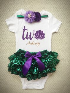 Perfect little outfit for your little mermaid .  3pc set includes 1.Sparkle Seashell design onesie/Tshirt Name can be added 2.All around bloomer skirt 3.Bow/headband Please allow 2-3 weeks for completion and delivery of your custom order, however if you need it sooner, please convo me, and in most cases I can accommodate rush orders.  Like BabyTrendzz on Facebook for coupons , Deals and more variety https://www.facebook.com/pages/Baby-Trendzz/341659092524038...