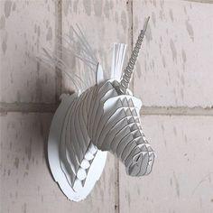 Superb CARDBOARD SAFARI D PUZZLE animal head wall picture white MICRO Merlin the Unicorn Amazon
