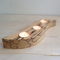 Tealight holder, candle holder (Swirl Lacquered), three, 3, Scottish spalted beech wood, wooden, hygge, unique, handmade, tealight, natural
