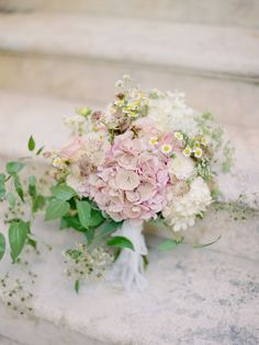 Hydrangea and wildflower wedding bouquet: Photography : Krystle Akin Read More on SMP: http://www.stylemepretty.com/2017/01/26/want-to-elope-in-italy-this-is-exactly-why-you-should/