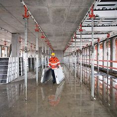 The proven aluminium panelized slab formwork with very fast shuttering times Construction Sector, Residential Construction, Construction Process, Concrete Formwork, Exposed Concrete, Site Manager, House Front Porch, Scaffolding, Maths