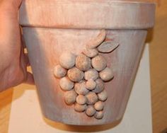 whitewash painted clay pot