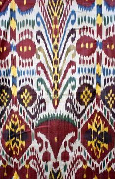Silk Woven Ikat Kaftan Robe Central Asia, detail.