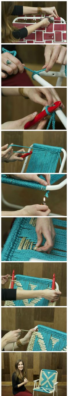 So much prettier this way!!! DIY Macrame Lawn Chair