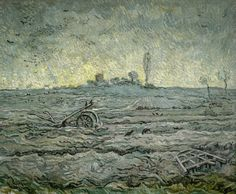Vincent van Gogh - Snow-Covered Field with a Harrow (after Millet); Saint-Rémy-de-Provence, January Oil on canvas, cm x cm, Van Gogh Museum, Amsterdam (Vincent van Gogh Foundation) Vincent Van Gogh, Van Gogh Museum, Art Van, Van Gogh Landscapes, Landscape Paintings, Wassily Kandinsky, Dutch Artists, Famous Artists, Claude Monet