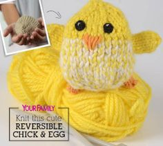 This reversible knitted chick hatches from a knitted egg! Knitting For Charity, Knitting For Kids, Loom Knitting, Knitting Patterns Free, Knitting Projects, Baby Knitting, Free Pattern, Knit Patterns, Knitting Toys