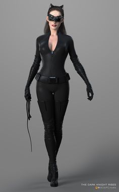 Anne Hathaway hour glass figure in Catwoman suit