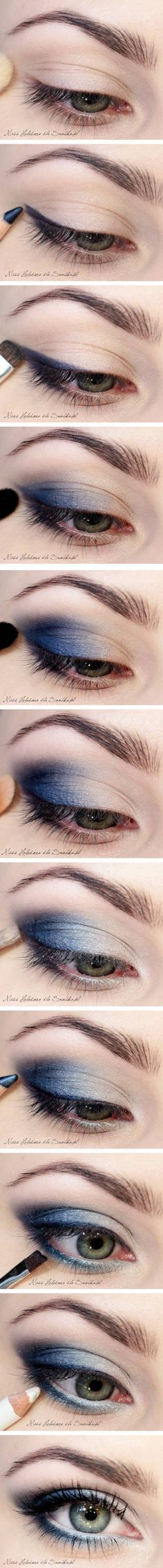 Blue Smokey Eye Make-up Beauty Make-up, Just Beauty, All Things Beauty, Beauty Secrets, Beauty Hacks, Kiss Makeup, Hair Makeup, Blue Makeup, Soft Makeup