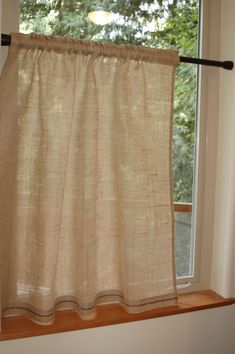 Lovely, rustic chic Burlap cafe curtain panel in natural burlap with hand embroidered hem. Custom sizes available.