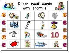 kindergarten short i words | Short Vowel e Bingo Game- Kindergarten Word Work - Melissa Williams ...