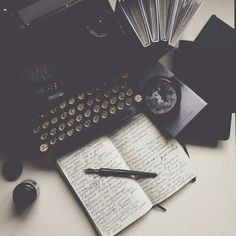 Writing old school style: typewriter + pen and paper!