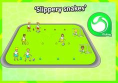 • Slippery Snakes • Fun soccer relays race ideas, part of the Kindy PE Sport Skills and Games pack. HOW TO PLAY: 1. Divide the class into 4 teams - each team has a line of cones in front of them and a goal at the end. 2. Players dribble as fast as they can through the cones and shoot at the end - the team with the most goals wins. There's loads more elementary games, check them out now