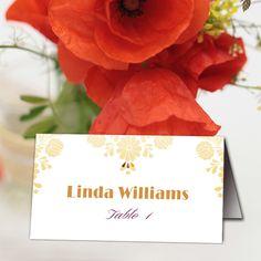 Printable Wedding Table Place Cards, Elegant Embroidery Element Place Cards, Folded Tent Place Card, Gold Floral Wedding Escort Card