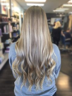 Blonde balayage highlights on long hair by Becky at Dallas Roberts Salon in West Jordan, Utah #801 #slc #slchair #westjordan #801hair #utah #wella #wellalife #utahstylist #utahsbest #behindthechair #americansalon #hairnerds #modernsalon #hair #bangstyle #kevinmurphy #dallasrobertssalon #drsbalayage