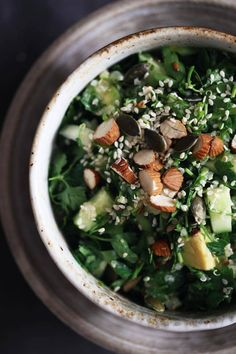 My favorite detox salad - parsley, avocado, quinoa, cucumber | The Awesome Green