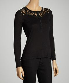 Take a look at this Black Lace Yoke Henley Top by Nanavatee on #zulily today!