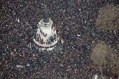 Luchtfoto van de Place de la République in Parijs. #JeSuisCharlie #CharlieHebdo