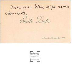 Cartão de visita autografado por Emile Zola