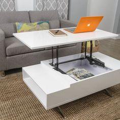 Matrix Stelar White Lift-Top Rectangular Coffee Table: