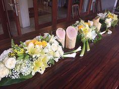 long table flower arrangements mixed trees