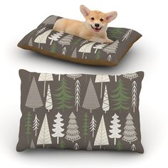 "KESS Original ""Happy Forest Brown"" Green Dog Bed"