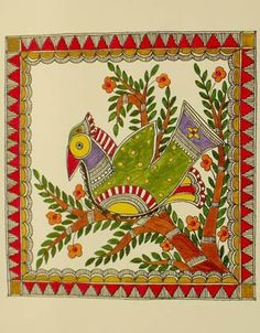 folk art birds | Madhubani paintings,Mithila Art,folk art paintings, Mithila,Indian ...