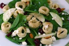 Spinach Salad with Tortellini, Dried Cranberries, Apples, Almonds, and Feta | Two Peas & Their Pod