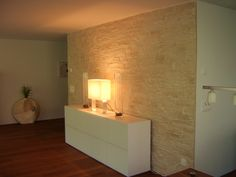 bari stone wall in living room