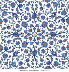 Floral pattern on turkish tiles found in Rustempasa Mosque in Istanbul Turkey by Sufi, via ShutterStock