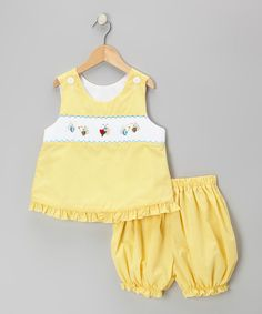 Look at this Wish Upon a Star Yellow Buzzy Bugs Top & Bloomers - Infant & Toddler on #zulily today!