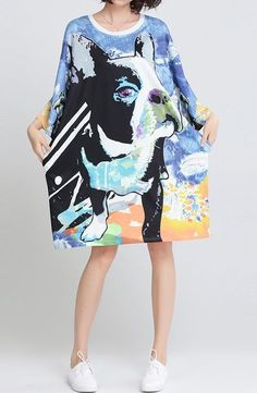 New women loose fit over size pug bull boxer dog puppy pet pocket dress tunic Boxer Dog Puppy, Bull Boxer, Party Fashion, Fashion Fashion, Fashion Outfits, Dress And Sneakers Outfit, Dress Robes, Flower Dresses, Loose Fit