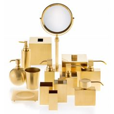 DECOR WALTHER, Dw 3565 large container with lid, Gold, Luisaviaroma - Height: Width: . Gold Bathroom Faucet, Undermount Bathroom Sink, Gold Bathroom Accessories, Home Accessories, Large Containers, Bath Fixtures, Decoration, Polished Chrome, Ceiling Lights