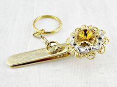 Vintage Key-Chain / Key Ring, King's Key Finder Clip, Gold Plated Key-Chain, Rhinestone Flower Key-Chain, 1960s Fashions, Purse Accessory by RedGarnetVintage