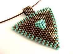 Peyote Triangle Pendant in Brown and Turquoise