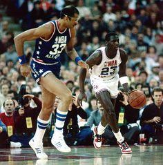 1985 NBA All-Star Game West #33 Kareem Abdul-Jabbar East #23 Michael Jordan (Photo by: Andrew D. Bernstein)