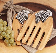 Buy Cassiani Collection Rustic Bamboo Salad Server Set with Grapes Design and other party favors and personalized gifts. Rustic Wedding Favors, Personalized Wedding Favors, Wedding Party Favors, Bridal Shower Favors, Personalized Gifts, Wedding Ideas, Wine Related Gifts, Burlap Gift Bags, Newlywed Gifts