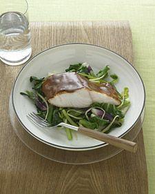 hoisin-glazed black cod with bok choy
