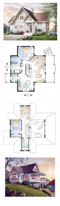 Bungalow House Plan 65001 | Total Living Area: 1480 sq. ft., 2 bedrooms and 2 bathrooms. The interior layout opens to a spatially rich arrangement where each of the two levels is endowed with its own large bedroom and private full bath. A cathedral ceiling hovers over the family room with fireplace and open dining area. #bungalowhome