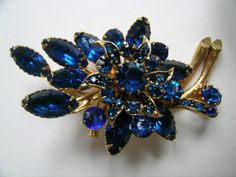 Blue Marquise brooch   VJSE by art4u2buy on Etsy, $59.00